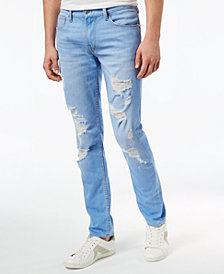 GUESS Men's Slim Tapered Fit Ripped Stretch Jeans