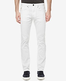 Men's White Slim-Fit Stretch Jeans