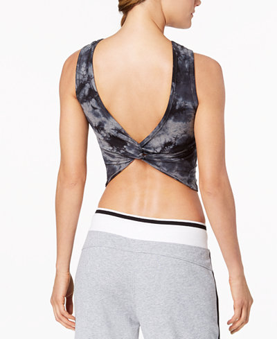 Calvin Klein Performance Tie-Dyed Twist-Back Cropped Tank Top