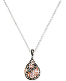 "Marcasite & Pink Shell Teardrop 18"" Pendant Necklace in Fine Silver-Plate"
