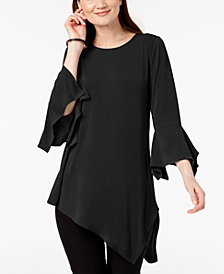 Alfani Solid Knit Square Sleeve Asymmetrical Top, Created for Macy's