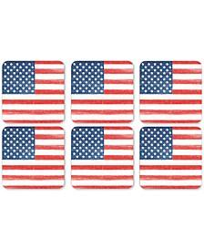 Pimpernel American Flag Coasters, Set of 6