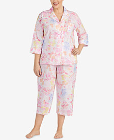 Lauren Ralph Lauren Classic Woven Plus Size Cotton Cropped Pajama Set