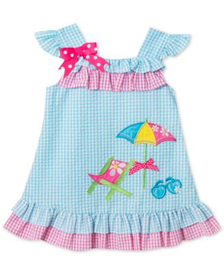 Rare Editions Beach Chair Gingham Seersucker Dress, Toddler Girls
