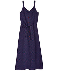 Monteau Dot-Print Maxi Dress, Big Girls