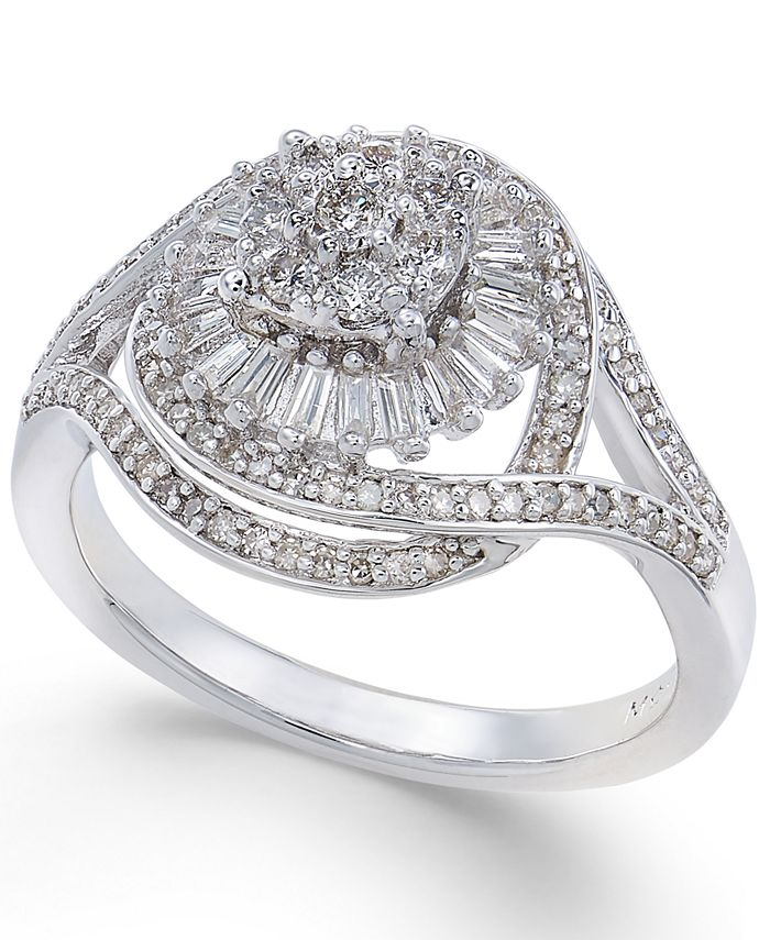 Macy's - Diamond Starburst Cluster Ring (1/2 ct. t.w.) in Sterling Silver