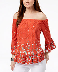 Style & Co Petite Printed Off-The-Shoulder Flounce Top, Created for Macy's