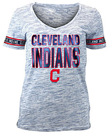 5th & Ocean Women's Cleveland Indians Plus Space Dye Sleeve T-Shirt
