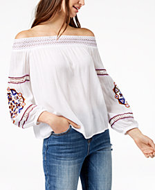 I.N.C. Petite Embroidered Off-The-Shoulder Top, Created for Macy's