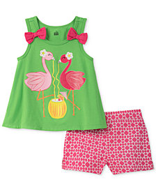Kids Headquarters 2-Pc. Flamingoes Tank Top & Shorts Set, Little Girls