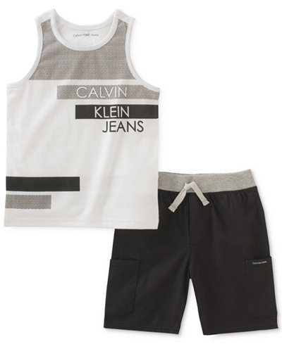 Calvin Klein 2-Pc. Graphic-Print Tank Top & Shorts Set, Toddler Boys