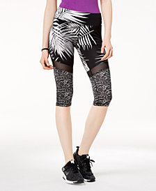 Material Girl Active Juniors' Illusion-Mesh Cropped Leggings, Created for Macy's