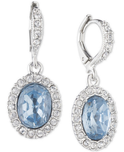 Givenchy Silver-Tone Clear & Colored Crystal Oval Drop Earrings