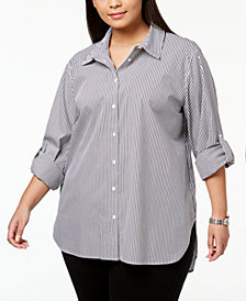 Calvin Klein Plus Size Cotton Striped Boyfriend Shirt