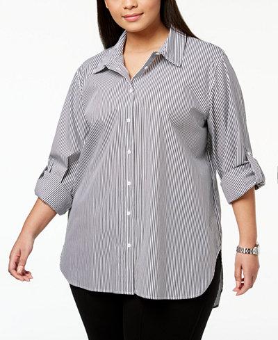 Calvin Klein Plus Size Cotton Striped Boyfriend Shirt