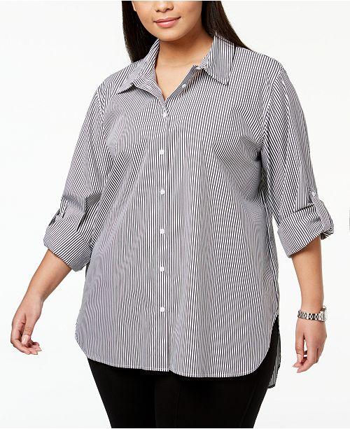 Calvin Klein Plus Size Cotton Striped Boyfriend Shirt Tops Plus