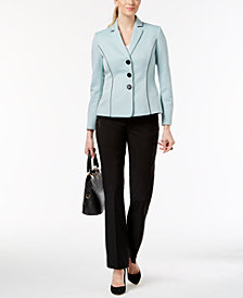 Le Suit Colorblocked Three-Button Pantsuit