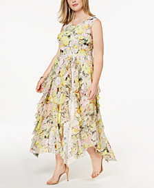 I.N.C. Plus Size Ruffled Lace Maxi Dress, Created for Macy's