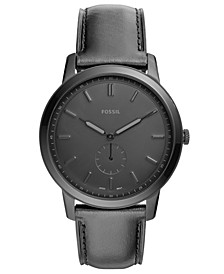 Men's Minimalist Black Leather Strap Watch 44mm