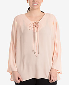 NY Collection Plus Size Tie-Front Bell-Sleeve Blouse