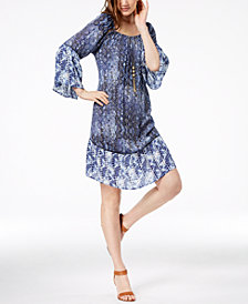 Style & Co Petite Printed Off-The-Shoulder Dress, Created for Macy's