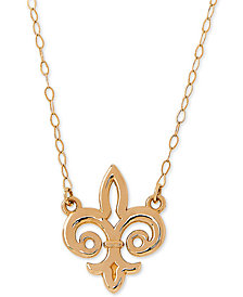 "Fleur de Lis 17"" Pendant Necklace in 10k Gold"