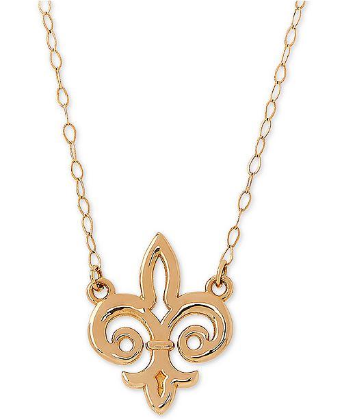 """Macy's Fleur de Lis 17"""" Pendant Necklace in 10k Gold"""