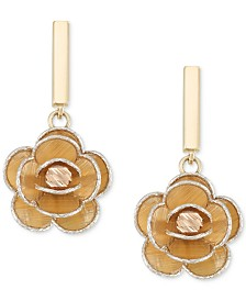 Tri-Colour Flower Drop Earrings in 14k Gold, White Gold & Rose Gold