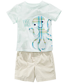 First Impressions Octopus-Print T-Shirt & Shorts, Baby Boys, Created for Macy's