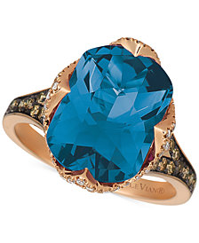 Le Vian® Deep Sea Blue Topaz™(6 9/10ct. t.w.),  Vanilla Diamonds® (1/5ct. t.w.), and Chocolate Diamonds® (1/3ct. t.w.) Ring in 14k Strawberry Gold™