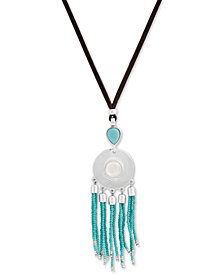 "Lucky Brand Silver-Tone Beaded Leather 28"" Slider  Pendant Necklace, Created for Macy's"