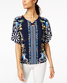 JM Collection Petite Printed Flutter-Sleeve Keyhole Top, Created for Macy's