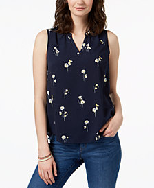 Charter Club Petite Floral-Print Split-Neck Top, Created for Macy's