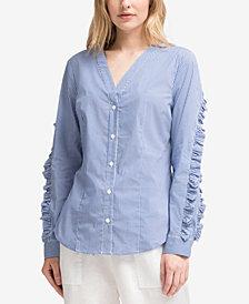 DKNY Ruffled-Sleeve Shirt, Created for Macy's