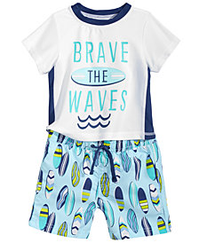 First Impressions 2-Pc. Rash Guard & Swim Trunks Set, Baby Boys, Created for Macy's