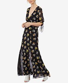 Avec Les Filles Printed Flutter-Sleeve Maxi Dress