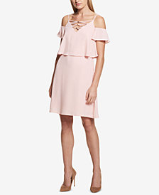 KENSIE Cold-Shoulder Lace-Up-Neck Dress