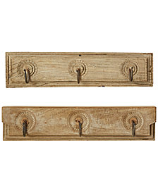 Wooden Coat-Hook Hanging, Set of 2