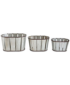 Metal Baskets with Banding, Set of 3