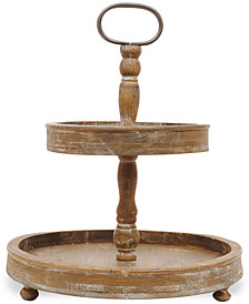 Round Decorative Wood 2-Tier Tray