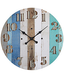 "3R Studio 30"" Round Wood Wall Clock"