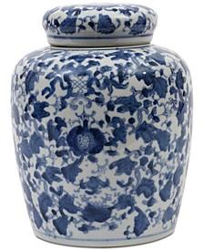 Large Round Decorative Ceramic Ginger Jar with Lid