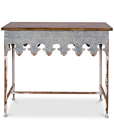 Metal Scalloped Edge Table with Wood Top