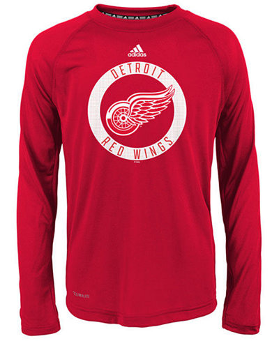 adidas Detroit Red Wings Practice Graphic Long Sleeve T-Shirt, Big Boys (8-20)
