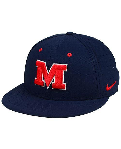 sale retailer 4d314 482cc Nike Ole Miss Rebels Aerobill True Fitted Baseball Cap ...