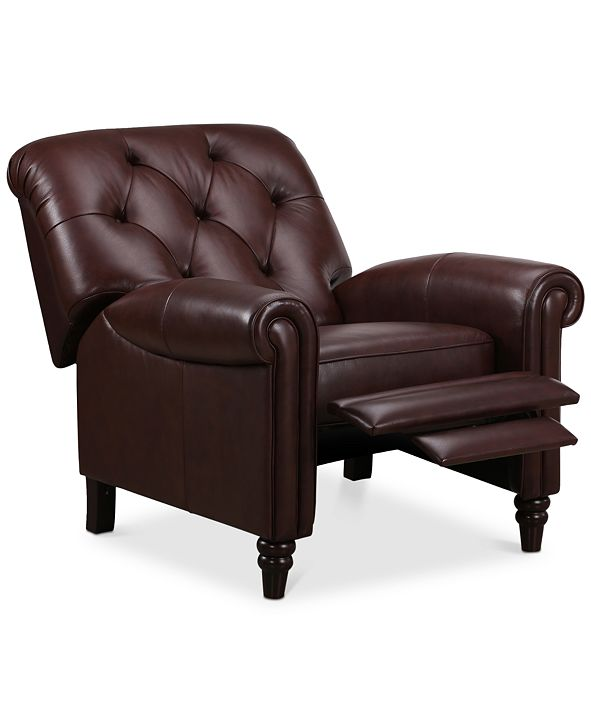 Martha Stewart Collection CLOSEOUT! Bradyn Leather Pushback Recliner, Created for Macy's