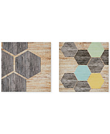 Intelligent Design Hexagon Puzzle 2-Pc. Gel-Coated Canvas Print Set