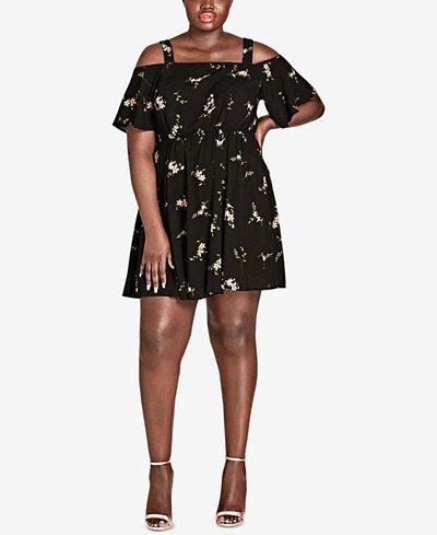 City Chic Trendy Plus Size Off-The-Shoulder A-Line Dress