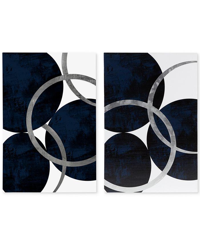 JLA Home - Celestial Orbit Navy 2-Pc. Gel-Coated & Silver-Tone Foil Canvas Print Set