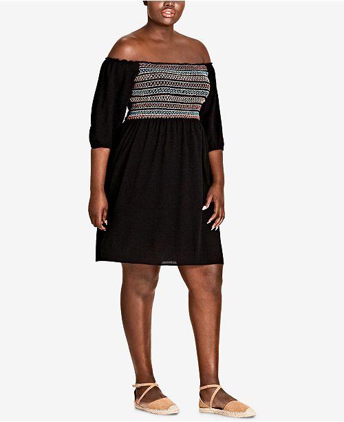 City Chic Trendy Plus Size Off-The-Shoulder Dress - Dresses ...